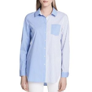 Calvin Klein Womens Striped Button-Down Tunic Top